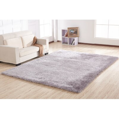 Krause Solid Shaggy Hand-Tufted Silver Area Rug