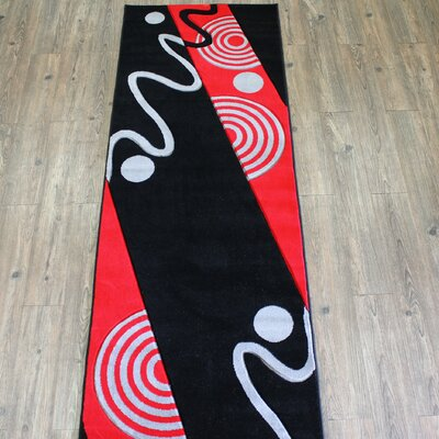 Geo Black/Red Area Rug