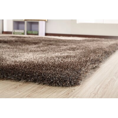 Heineman Solid Shag Hand-Tufted Charcoal Gray Area Rug Rug Size: Rectangle 76 x 103