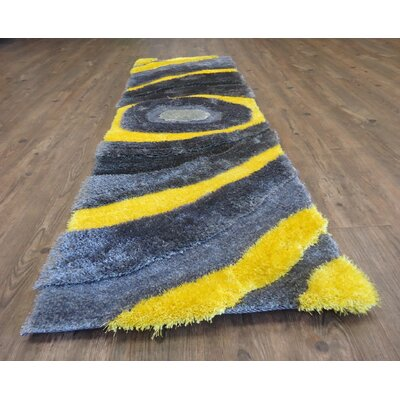Living Shag Hand-Tufted Gray/Yellow Area Rug