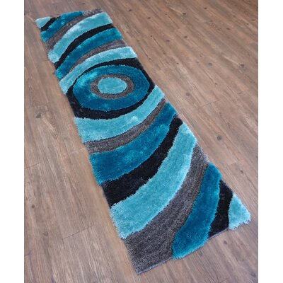 Living Shag Hand-Tufted Gray/Blue Area Rug