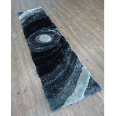 Living Shag Hand-Tufted Black/Gray Area Rug