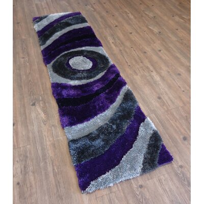Living Shag Hand-Tufted Gray/Purple Area Rug