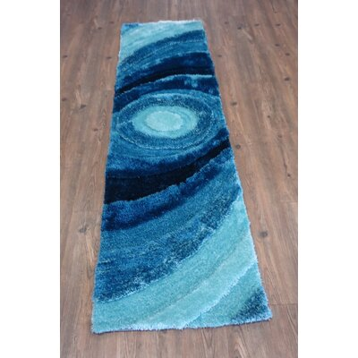 Living Shag Hand-Tufted Turquoise Area Rug