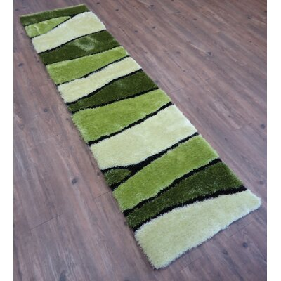 Living Shag Hand-Tufted Green Area Rug