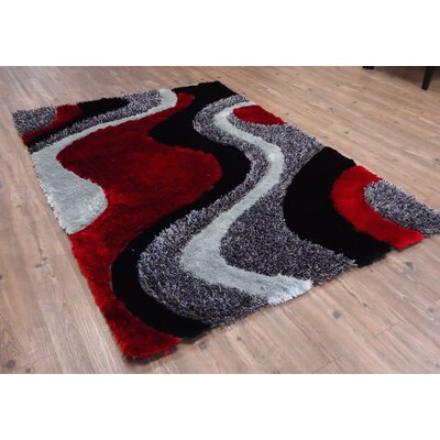 Cleaton Modern Hand-Tufted Black/Red Area Rug Rug Size: Rectangle 76 x 103