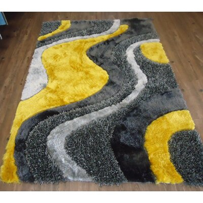Clennell Modern Hand-Tufted Gray/Yellow Area Rug Rug Size: Rectangle 76 x 103