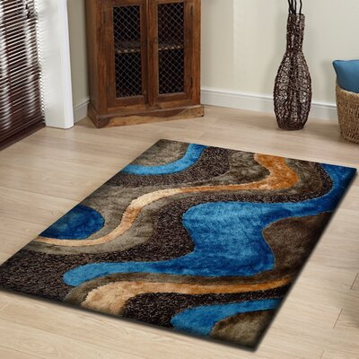 Riaria Shag Hand-Tufted Brown/Blue Area Rug