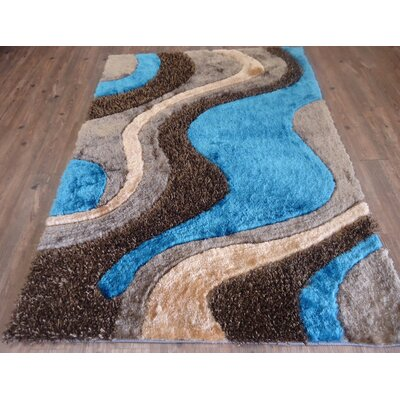 Hand-Tufted Brown/Blue Area Rug