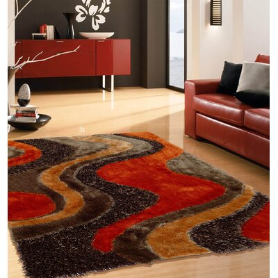 Digiacomo Shag Hand-Tufted Brown/Red Indoor Area Rug