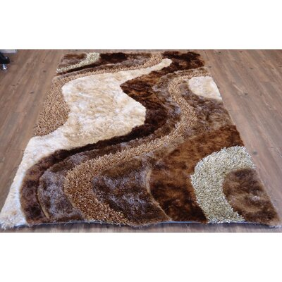 Pacheco Shaggy Hand-Tufted Brown/Beige Area Rug