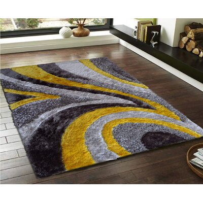Riaria Shag Hand-Tufted Gray/Yellow Area Rug