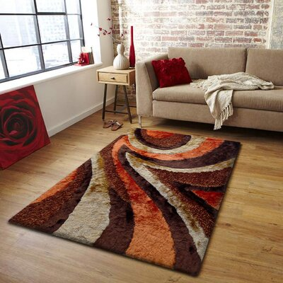 Shangrila Shag Hand Tufted Brown/Orange Area Rug