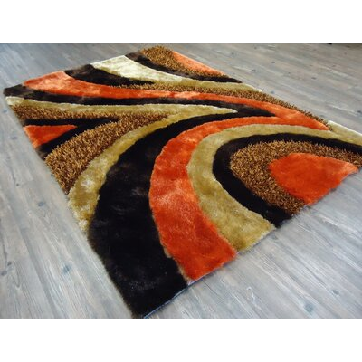Wyrick Modern Hand-Tufted Brown/Orange Area Rug Rug Size: Rectangle 76 x 103
