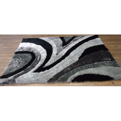 Yarbrough Hand-Tufted Gray/Black Area Rug Rug Size: Rectangle 5 x 7