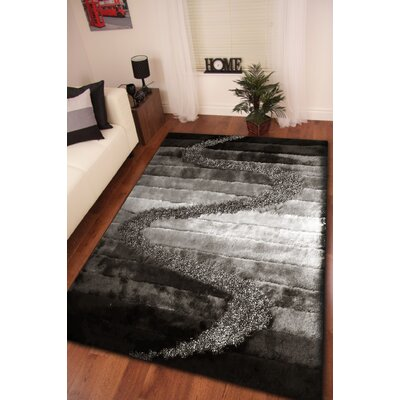 Yarbrough Hand-Tufted Gray/Black Area Rug Rug Size: Rectangle 7'6