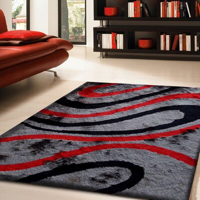 Hand-Tufted Gray/Red Area Rug