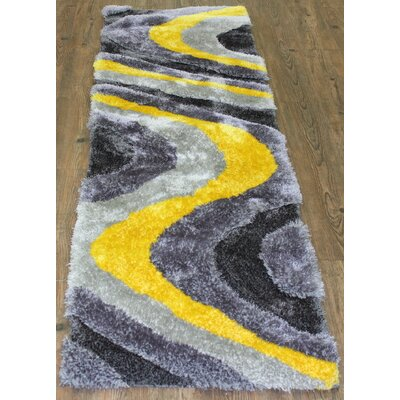 Living Shag Hand-Tufted Yellow Area Rug