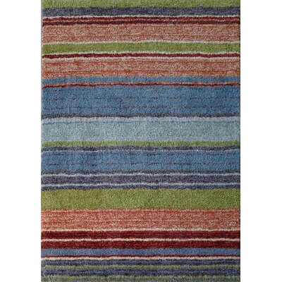 Moro Shag Hand-Tufted Stipe Blue/Orange Area Rug