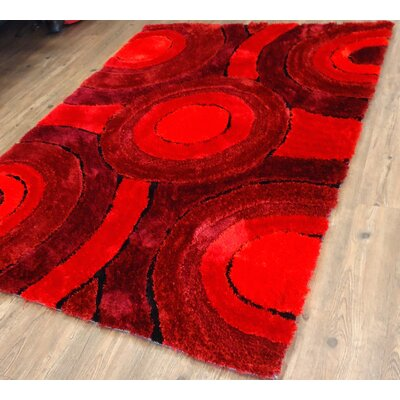 Cleere Geometric Design Hand-Tufted Red Area Rug Rug Size: Rectangle 7'6