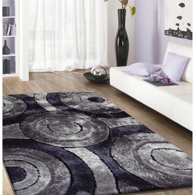 Living Shag Hand-Tufted Black Area Rug