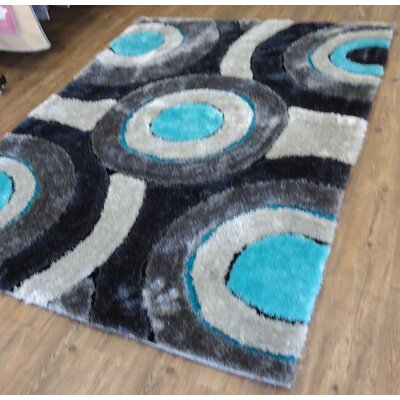 Cliburn Geometric Design Hand-Tufted Blue/Brown Area Rug Rug Size: Rectangle 76 x 103