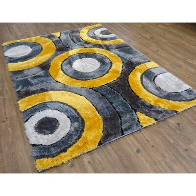 Zacharias Geometric Design Hand-Tufted Yellow Area Rug Rug Size: Rectangle 76 x 103