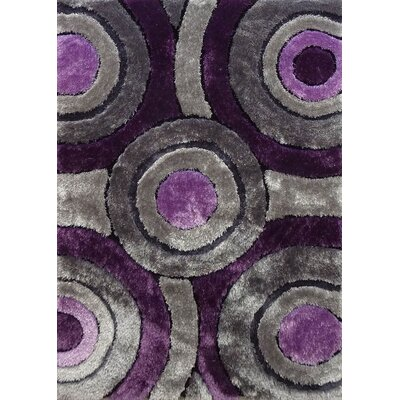 Orrstown Shaggy Hand-Tufted Gray/Purple Area Rug Rug Size: Rectangle 5 x 7