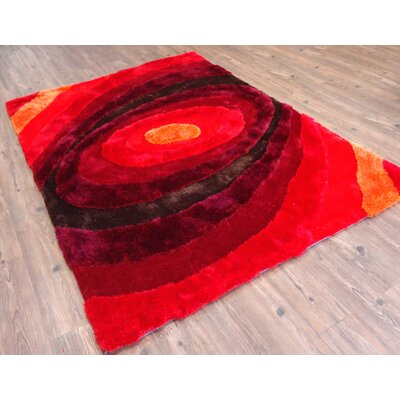 Clemons Geometric Design Hand-Tufted Red Area Rug Rug Size: Rectangle 76 x 103