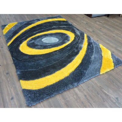 Qualls Hand-Tufted Gray/Yellow Area Rug