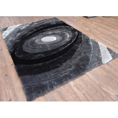 Clayson Modern Hand Tufted Gray/Black Area Rug Rug Size: Rectangle 76 x 103