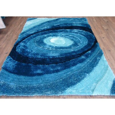 Clewis Abstract Design Hand-Tufted Turquoise Area Rug Rug Size: Rectangle 76 x 103