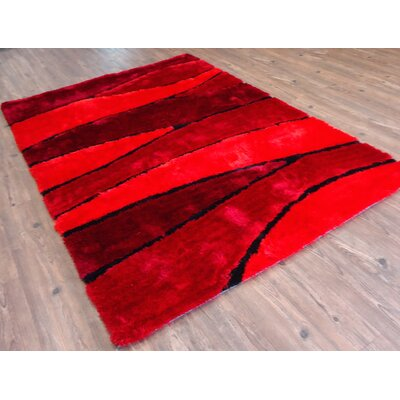 Clemens Hand-Tufted Red Area Rug Rug Size: Rectangle 76 x 103