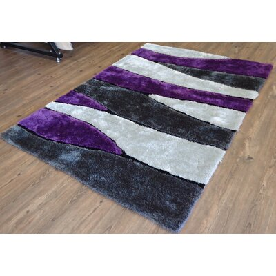 Clarkston Abstract Design Hand-Tufted Purple/White Area Rug Rug Size: Rectangle 76 x 103