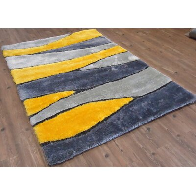 Clayburn Hand-Tufted Yellow Area Rug Rug Size: Rectangle 5 x 7