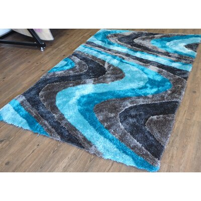 Cliffe Abstract Design Hand-Tufted Blue/Brown Area Rug Rug Size: Rectangle 5 x 7