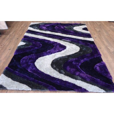 Clarion Abstract Design Hand-Tufted Purple/White Area Rug Rug Size: Rectangle 76 x 103