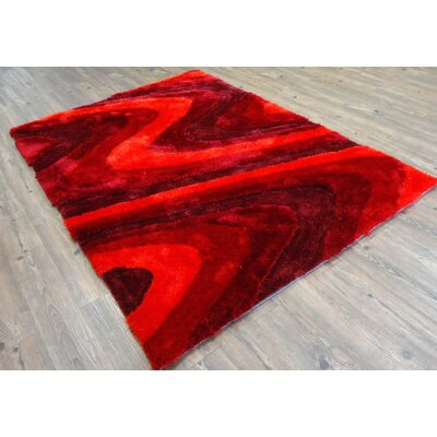 Clemence Hand-Tufted Red Area Rug Rug Size: Rectangle 76 x 103