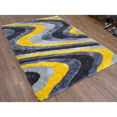 Claybrooks Hand-Tufted Yellow Area Rug Rug Size: Rectangle 76 x 103