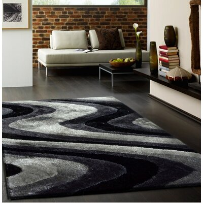 Osteen Shaggy Hand-Tufted Gray/Black Area Rug Rug Size: Rectangle 5 x 7