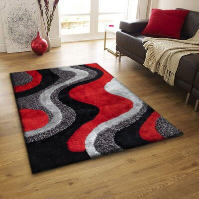Riaria Shag Hand-Tufted Black/Red/Gray Area Rug