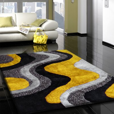 Scottville Shag Hand-Tufted Gray/Yellow Indoor Area Rug