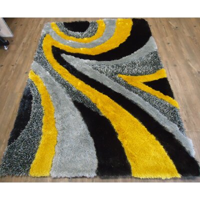 Clemson Modern Hand-Tufted Gray/Yellow Area Rug Rug Size: Rectangle 76 x 103