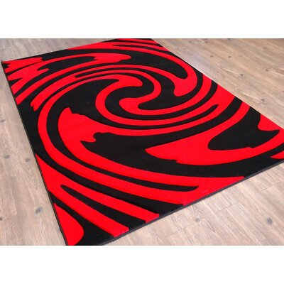 Halbert Black/Red Area Rug Rug Size: Rectangle 54 x 75