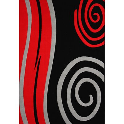 Velazco Power Loom Black/Red Area Rug Rug Size: Rectangle 54 x 75