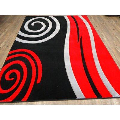 Haldeman Black/Red Area Rug Rug Size: Rectangle 54 x 75