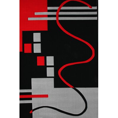 Croom Hand-Woven Black/Red Area Rug