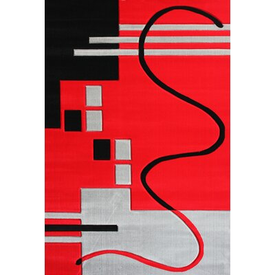 Croom Hand-Woven Red/Black Area Rug
