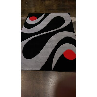 Heide Power Loom Black/Gray Area Rug Rug Size: Rectangle 54 x 75