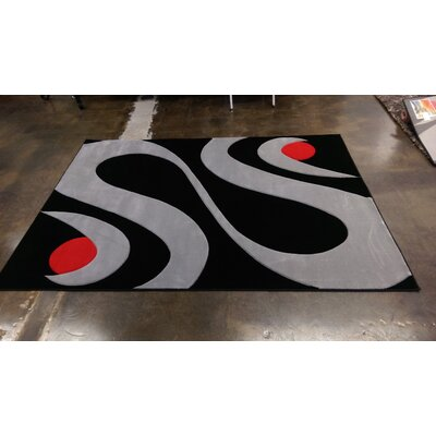 Hallam Black/Gray Area Rug Rug Size: Rectangle 54 x 75